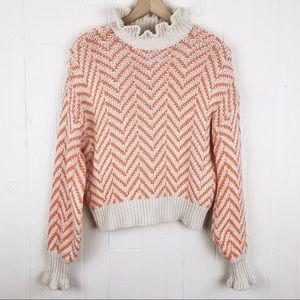 Vero Moda Zig Zig High Neck Ruffle Sweater